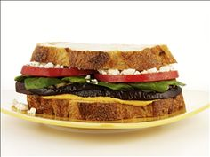 Garlic Roasted Eggplant Sandwich - Did you know that you can use eggplant in sandwiches too? Give this Garlic Roasted Eggplant Sandwich with Nikos® brand Fat Free Feta Cheese a try to check it out! Eggplant Sandwich, Olive Bread, Tacos And Burritos, Roast Eggplant, Healthy Food Choices, Spring Recipes, Sandwich Recipes, Feta, Garlic