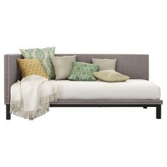 Mid Century Upholstered Modern Daybed - Twin - Gray Linen - DHP