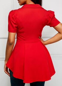 Button Up Short Sleeve Asymmetric Hem Red Blouse Dress Over Pants, Dress Skirt, Elegant Dresses Classy, Ladies Day Dresses, Fancy Tops, Casual Skirt Outfits, Red Blouses, Blouse Styles, Ladies Dress Design