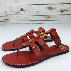[Tory Burch] Briza Gladiator Sandal Leather Chic Shiny studs dot a breezy leather gladiator sandal with a metal logo accent at heel. Adjustable ankle strap with back buckle. Add a fun pop of color to any outfit!   Condition: NWOT! Never been worn.   No Trades! Tory Burch Shoes Sandals