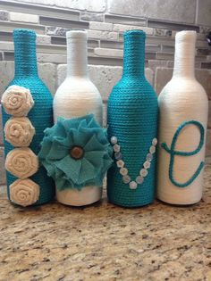 "Turquoise and Cream ""Love"" Wine Bottle Set"