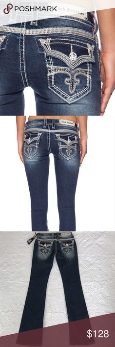 """Rock revival Celine jeans Brand new with tag. Rise 6.5"""", inseam 33"""", waist measures 28"""" around laying flat. 88% cotton 10% polyester 2% elastane. No trades 🌷 Rock Revival Jeans Boot Cut"""