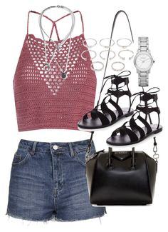 """""""Outfit for a music festival"""" by ferned ❤ liked on Polyvore featuring Glamorous, Topshop, Maison Margiela, Givenchy, Forever 21 and Burberry"""