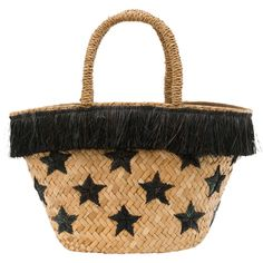 Kayu Stellar Black Star Straw Tote ($63) ❤ liked on Polyvore featuring bags, handbags, tote bags, tan, fringe tote, straw tote, fringe purse, woven tote and tan tote
