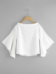 Boat Neckline Trumpet Sleeve Blouse -SheIn(Sheinside) Happy relationships are… Teen Fashion Outfits, Mode Outfits, Casual Outfits, Fashion Dresses, Casual Wear, Blouse Styles, Blouse Designs, Feminine Mode, Sleeves Designs For Dresses