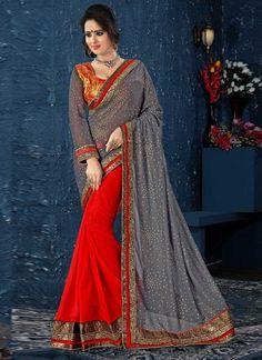 Beautiful Grey And Red Faux Georgette Half N Half Saree