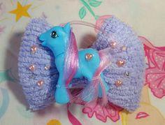 My Little Pony puffy hair bow, pastel chenille sweet lolita sparkle barrette hair clip