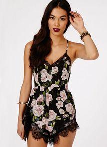 Black Criss Cross Floral Lace Slim Jumpsuit - Sheinside.com