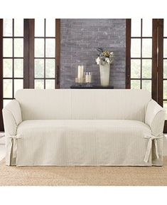 Sure Fit Ticking Stripe Sofa Slipcover - Slipcovers - For The Home - Macy's Striped Couch, Ticking Stripe, Loveseat Slipcovers, Cushions On Sofa, Diy Couch, Couch Covers, Furniture Covers, 1 Piece, Love Seat