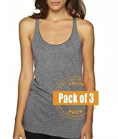 Next Level Womens Tri-Blend Racerback Tank Top 6733-Premium Heather-Small (3 Pack