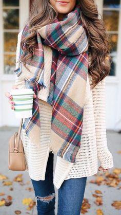 #winter #fashion / tartan scarf + knit