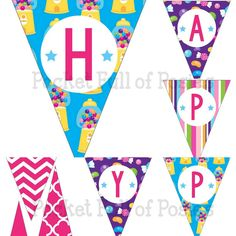 Colorful Candy Shoppe Theme Birthday Party Pack Package Banner Cupcake Toppers Wrappers Centerpiece Digital File Download DIY printables