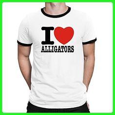 Teeburon I love Alligator Ringer T-Shirt - Animal shirts (*Amazon Partner-Link)