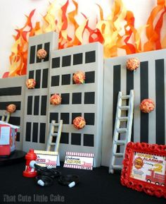 Firetruck Party  - this would be so easy with cereal boxes and construction paper!