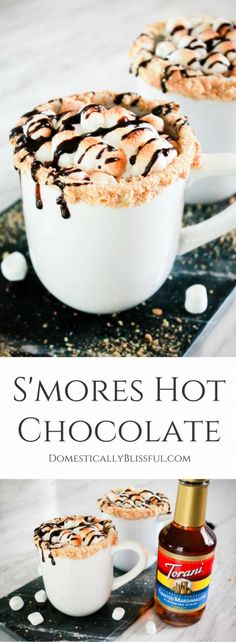 S'mores Hot Chocolate is a cup full of your favorite fall campfire treat that you can enjoy in the comforts of your own home. | #Ad #FlavorSplash @Walmart |