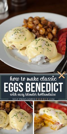 Easy Eggs Benedict, Eggs Benedict Recipe, Delicious Breakfast Recipes, Brunch Recipes, Appetizer Recipes, Egg Recipes, Cooking Recipes, Vegetarian Recipes, Blender Hollandaise
