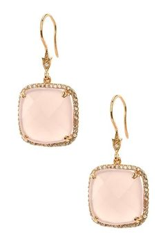 CZ by Kenneth Jay Lane Rose Gold Plated Cushion Rose Quartz & Pave CZ Earrings