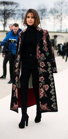 fall style. embroidered long coat. mira duma.