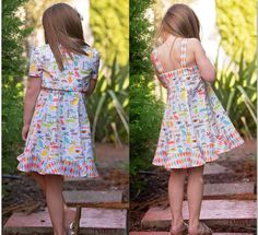 Back views of dress with topper and sundress