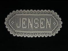 5 Letter Filet Crochet Name Doily by Morlaithiel on Etsy Crochet Alphabet Letters, Crochet Letters Pattern, Letter Patterns, Cross Stitch Alphabet, Crochet Patterns, Crochet Ideas, Filet Crochet Charts, Crochet Motif, Crochet Doilies