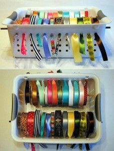 Papercrafting Organization: Ribbon-In Bins with Holes (image)
