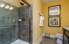 Transitional Full Bathroom with High ceiling, Wall sconce, slate tile floors, Simple granite counters, Flat panel cabinets