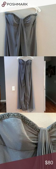 🎉HP🎉David's bridal bridesmaid dress PRICE FIRM firm unless bundled  Beautiful never worn bridesmaid/prom dress Tags still attached Only tried on Pewter shimmer color Halter/straps included Extra beads included David's Bridal Dresses