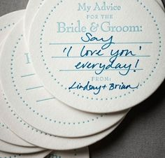 Have guests fill these out at an engagement party, or the bridal shower or whatever, and then make a display of them and hang it up at your wedding reception. You could also then hang it in your house. Cute Wedding Ideas, Perfect Wedding, Wedding Inspiration, Fun Wedding Reception Ideas, Drinks Wedding, Different Wedding Ideas, Honeymoon Inspiration, Wedding Glasses, Wedding Pictures
