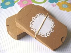 Kraft Pillow box - 10 pcs - package jewelry necklaces earrings in style. $3.00, via Etsy.
