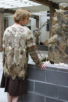 """organic jacket, 2005  created using the methods described in Prudence's book """"Freeform: serendipitous design techniques for knitting & crocheting"""" - see www.knotjustknitting.com"""