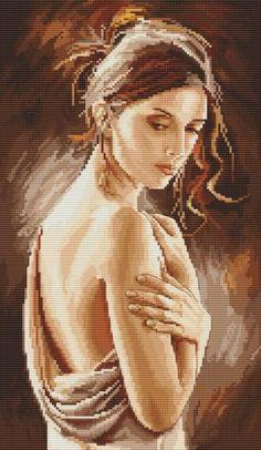 0 point de croix femme épaule nue - cross stitch bare shoulder woman