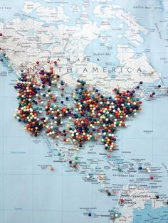 A Great Idea for some DIY #Travel Art - Track your #Travel destinations on a map covered pin board! (Note the link doesn't really work.)