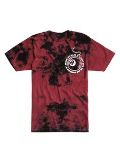 "Red & black tie dye T-shirt from Issues with ""Lost-n-Found (On A Roll)"" inspired bomb logo designs on front & back that read ""I Spend My Days Fighting Off My Bad Luck.""<br><ul><li style=""LIST-STYLE-POSITION: outside !important; LIST-STYLE-TYPE: disc !important"">100% cotton</li><li style=""LIST-STYLE-POSITION: outside !important; LIST-STYLE-TYPE: disc !important"">Wash cold; dry low</li&g..."