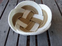 """Knotted Fruit Bowl Bread Basket White & Gold 12"""" Handmade Made in USA by AlaskaRugCompany on Etsy"""