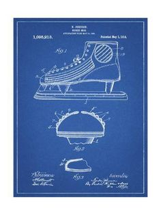 37ce11472611 Giclee Print  PP169- Blueprint Hockey Skate Patent Poster by Cole Borders    24x18in Unique