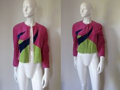 Vintage Giorgio Armani Pink Chartreuse and Navy Blue Geometric Design Butter Soft Suede Cropped Jacket Bust 38