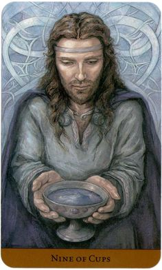 Nine of Cups card - Tarot of the Hidden Realm -  The book is by Barbara Moore, the art is by Julia Jeffrey