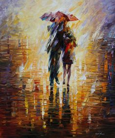 Colorful Paintings by Leonid Afremov. The texture of these unusually colorful paintings is the result of using a pallete-knife. Oil Painting On Canvas, Painting Prints, Rain Painting, Couple Painting, Knife Painting, City Painting, Art Triste, Art Amour, Umbrella Art