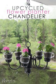 Bring life back into your outdated chandelier and turn it into a beautiful and upcycled flower planter chandelier.