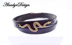 FREE SHIPPING,Black Leather Bracelet, Mens Jewelry, Men's Classic Jewelry, Snake bracelet, Stylish bracelet, Gift for Him