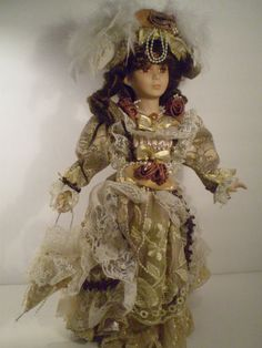 "Crown Heritage Collectibles 16""Handpainted Fine Bisque Porcelain Victorian Doll 