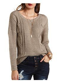 Cable Knit High-Low Sweater