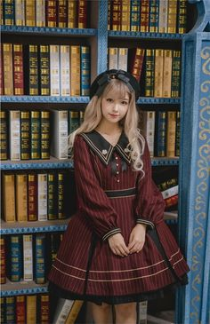 Penny House -The Academy of Magical Arts- Pointed Collar Lolita OP (Closed),Lolita Dresses, Harajuku Fashion, Kawaii Fashion, Lolita Fashion, Cute Fashion, Gothic Fashion, Asian Fashion, Fashion Outfits, Emo Fashion, Rock Fashion