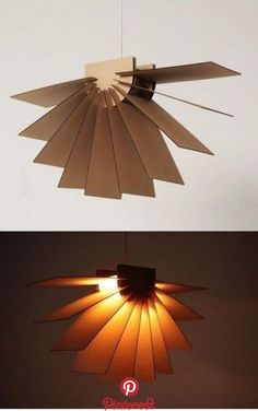 Cardboard lamp designed by Angelina Polousova Handmade Lamps, Handmade Home Decor, Diy Home Decor, Cardboard Design, Cardboard Crafts, Mobil Origami, Do It Yourself Decoration, Diy Pendant Light, Diy Chandelier