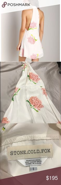 Stone Cold Fox Modest Dress in Bloom size 1 Never worn, tags not attached. Waist fits like an XS and does not stretch. Dress has a small black dot on the bottom of the backside–see last photo. Some minor fraying in neck tie but dress was purchased that way (I'll post additional photos upon request) Stone Cold Fox Dresses Mini