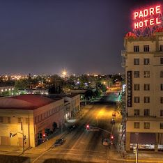View of 18th St and the Padre Hotel in Bakersfield, California.