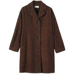 Toast Flora Tweed Coat, Auburn/Black featuring polyvore, women's fashion, clothing, outerwear, coats, coats & jackets, jackets, tweed wool coat, cocoon coat, tweed coat, leather-sleeve coats and long sleeve coat