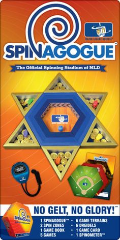 Thanks to Major League Dreidel (MLD), dreidel is now played on a Spinagogue. The Spinagogue is the official stadium for all of the spinning, winning, gelt and glory and can be used to play all of the thrilling MLD games. The Spinagogue is fun for players of all ages and comes with an MLD Spinometer, 2 Spin Zones, 6 dreidels, 5 games, 1 game book, 1 game card and 6 Game Terrains including Spinnings and Target Tops.