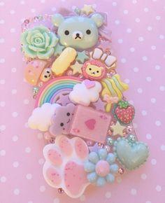 Layered Bear & pastel Decoden Phone Case