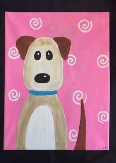 painting ideas on canvas for kids New painting ideas for kids canvases ideas Dog Canvas Painting, Kids Canvas Art, Dog Paintings, Canvas Paintings For Kids, Canvas Ideas, Canvas Painting Designs, Easy Painting For Kids, Kids Painting Class, Kids Paint Night